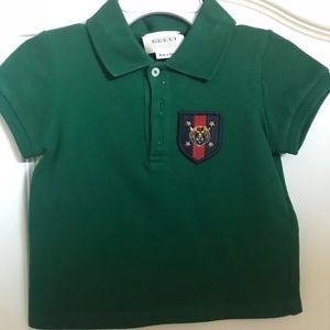 aea6b25e3db Gucci Shirts   Tops - GUCCI BABY GREEN TIGER SHIELD POLO TOP